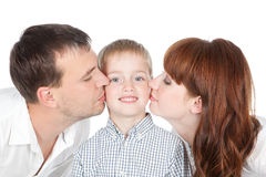 Happy family - mother, father and little son Stock Photo