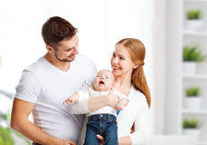Happy family mother, father and son, baby at home Royalty Free Stock Photos