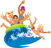 Happy family, mother, father, son and daughter fun bathing, family in travel Stock Photo