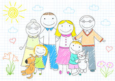 Happy family - mother, father, son, daughter, grandmother, grand Stock Images