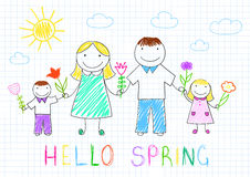 Happy family - mother, father, son, daughter. Hello spring. Happy family - mother, father, son, daughter with flowers. Vector sketch on notebook page on doodle Stock Photography