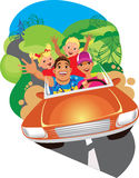 Happy family, mother, father, son and daughter ride on car in travel Royalty Free Stock Photo