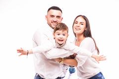 Happy family: mother, father and son Stock Images