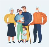 Happy family, mother, father, two children, grandparents. Festive clothing, a good mood. Characters for cards. Vector cartoon illustration cartoon, beautiful Royalty Free Stock Photo