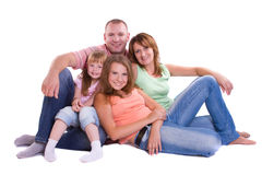 Happy family. Mother, father and two daughters Stock Photo