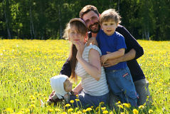 Happy family of mother, father and two sons. In dandelion field Stock Photography