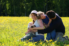 Happy family of mother, father and two sons. In dandelion field Royalty Free Stock Images