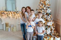 Mother and five children decorating Christmas tree at home royalty free stock photos
