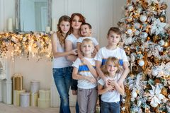 Mother and five children decorating Christmas tree at home stock image