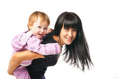 Happy family. Mother holding her baby isolated Stock Photo