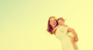 Happy family, mother and little daughter child play and have fun Stock Images