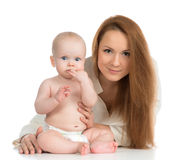 Happy family mother and new born child baby girl Stock Photography