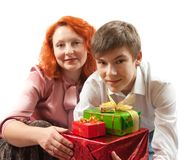 Happy family . Mother and son. New year Royalty Free Stock Image