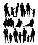 Happy Family, Mother and Son Silhouettes, art vector design Royalty Free Stock Images