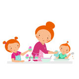 Happy family. Mother with two daughters cooking at the kitchen. Vector cartoon illustration isolated on a white Stock Photos