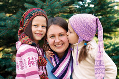 Happy family mother and two little daughter  in the Christmas ho Royalty Free Stock Photo