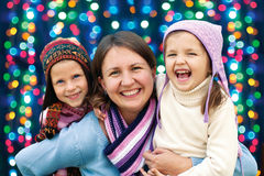Happy family mother and two little daughter Stock Photography