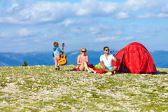 Happy family in mountains Royalty Free Stock Photos
