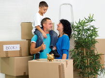 Happy family moving Royalty Free Stock Photography