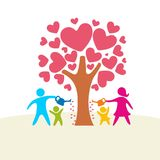 A happy family. Multicolored figures, loving family members. Parents: Mom and Dad and kids vector illustration
