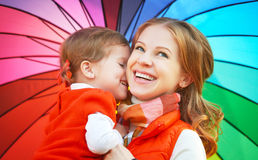 Happy family mum and child daughter with rainbow colored umbrell Royalty Free Stock Image