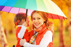 Happy family mum and child daughter with rainbow colored umbrell Stock Image