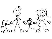 Happy family naive sketchy characters isolated. On white Royalty Free Stock Images
