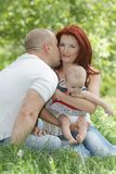 Happy family on nature Stock Photography