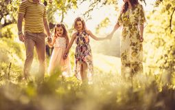 Happy family in nature. stock image