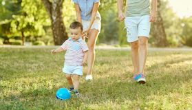 Happy family in nature. royalty free stock photography