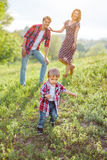 Happy Family on the Nature Stock Photography