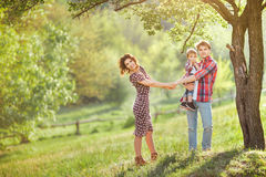 Happy Family on the Nature Stock Images