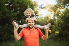 Happy family on nature photoshoot Stock Photography