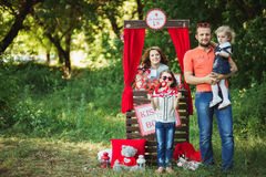 Happy family on nature photoshoot Royalty Free Stock Photos