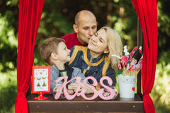 Happy family on nature photoshoot Royalty Free Stock Images