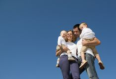 Happy family in nature Royalty Free Stock Photo