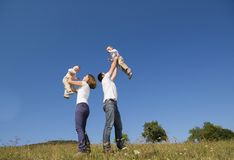 Happy family in nature Royalty Free Stock Photos