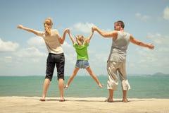 Happy family near  the beach Stock Image