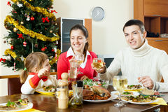 Happy family near Christmas tree Stock Image