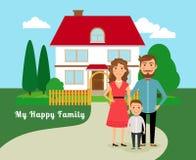 Happy family near house Royalty Free Stock Photo