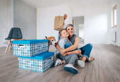 Happy family in new apartment Royalty Free Stock Images