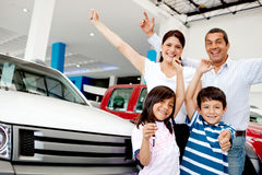 Happy family with new car Stock Photos