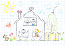 Happy family in new house Royalty Free Stock Images