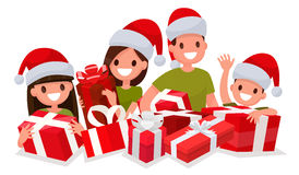 Happy family with New Year gifts. Element for decoration of Chri Stock Image