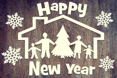 Happy family and New Year holiday Stock Images