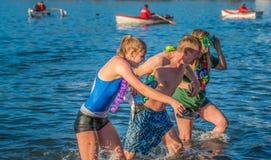 Happy family for New year polar bear swim Royalty Free Stock Photography