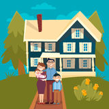 Happy Family with Newborn Baby and New House Stock Illustration