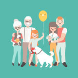 Happy family with newborn baby. Vector illustration in linear style design. Cartoon people characters. Three generations. Of family Royalty Free Stock Photography