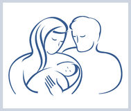 Happy family with the newborn child. Stock Photography