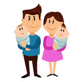 Happy family with newborn twins. Vector illustration Royalty Free Stock Images